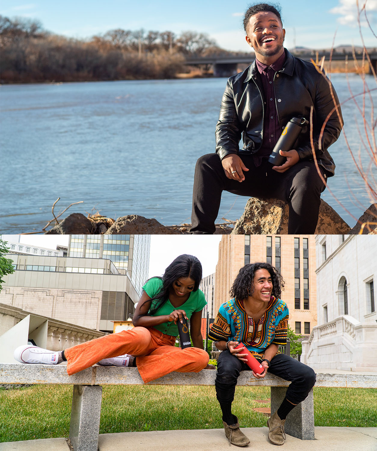 Two pictures are next to each other. In the top picture, a man holding a black water bottle sits on a rock. In the bottom picture, a man wearing a colorful shirt sits next to a woman wearing a green shirt and orange pants. Both hold water bottles.