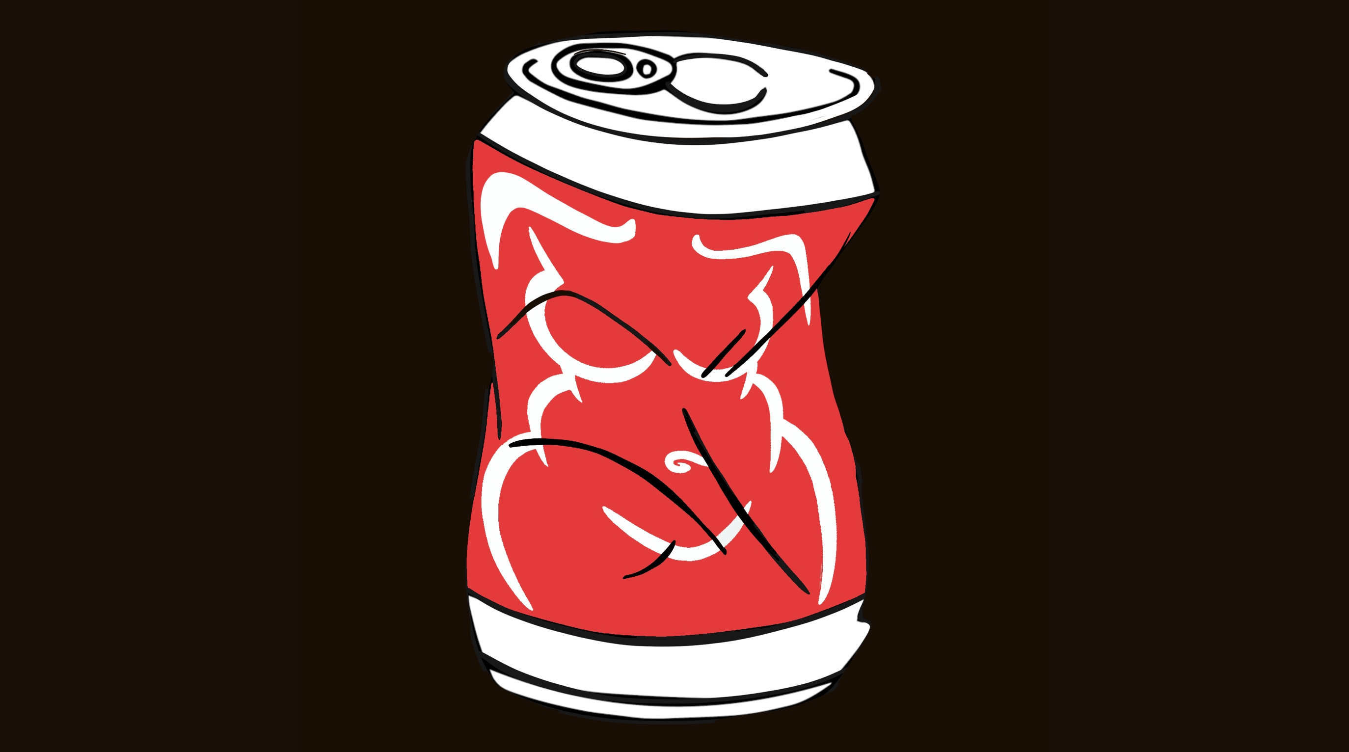 A crumpled soda can with the outline of a woman's body as the logo